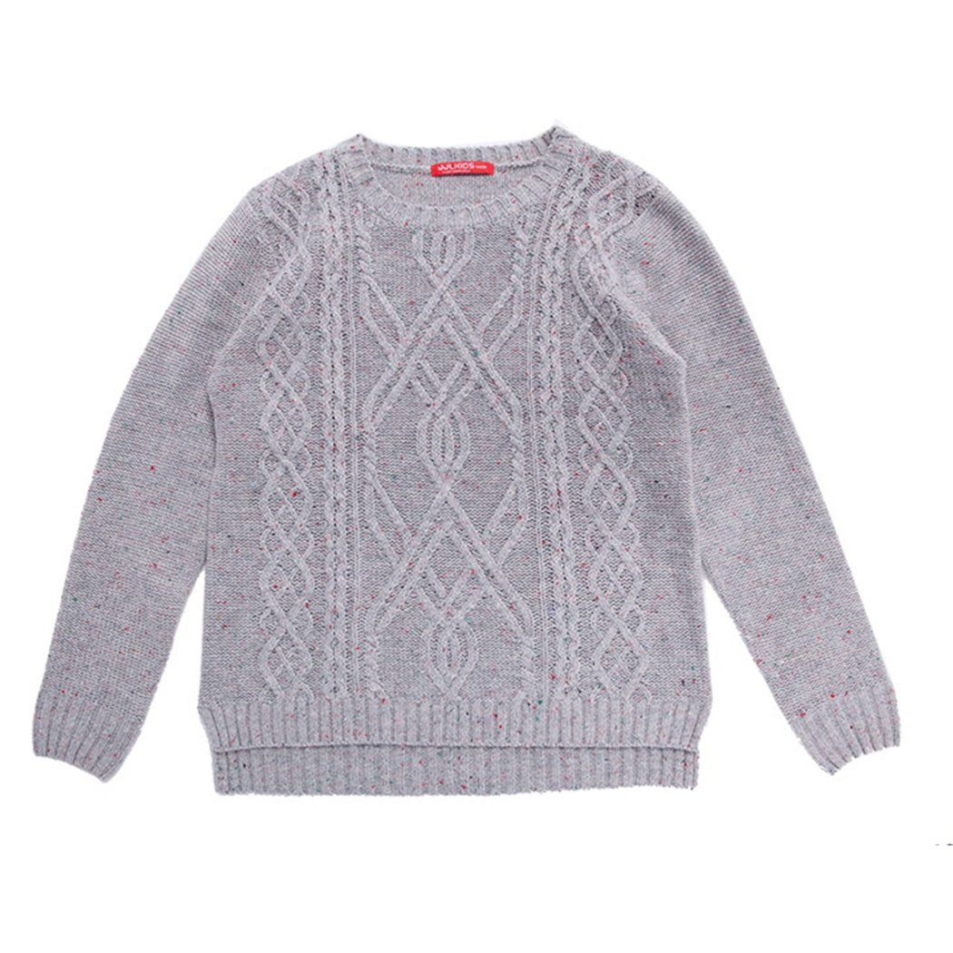 JJLKIDS Winter Boys Pullover Twist Pattern Vintage Knitwear Kids Pattern Sweater Jumper Solid Warm