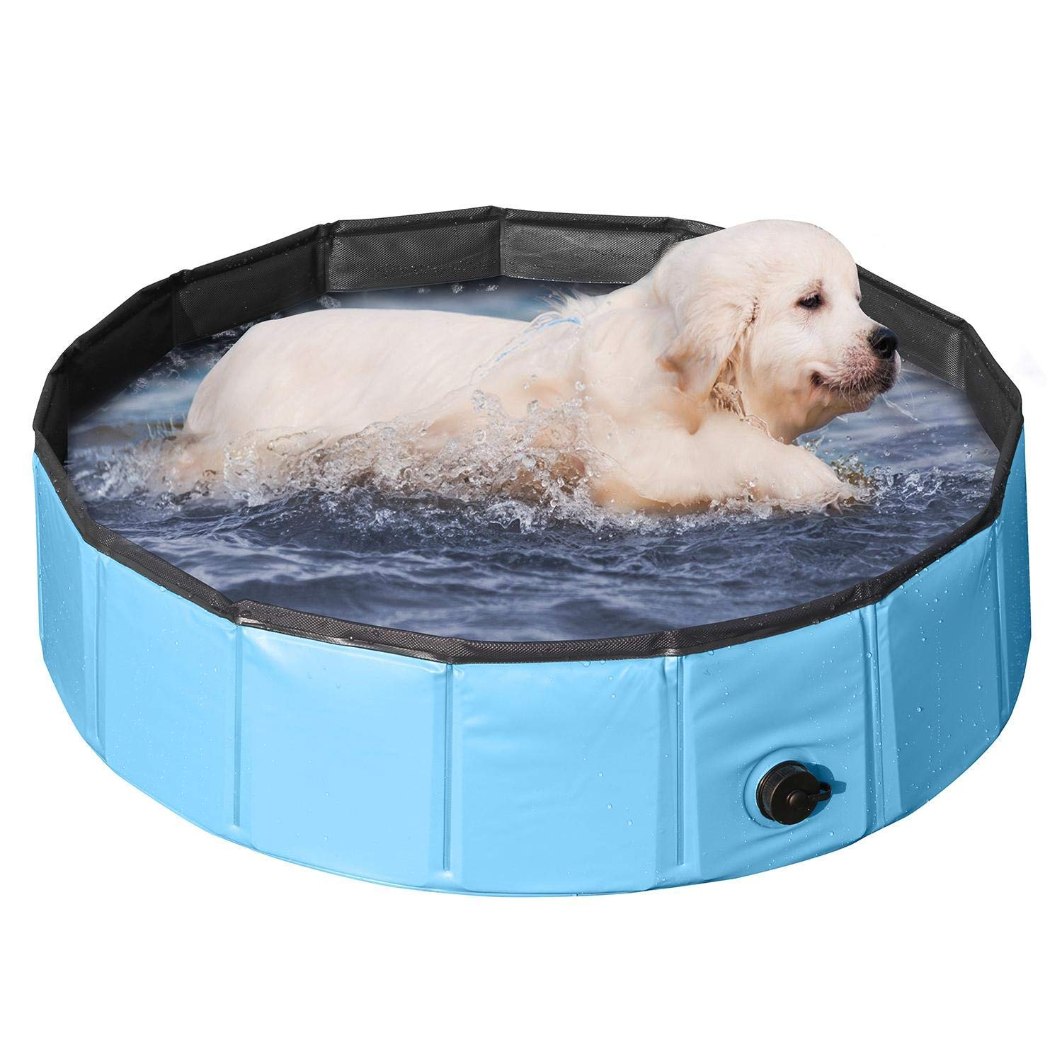 PVC Pet Foldable Swimming Pool Dogs Cats Bathing Tub Portable Bathtub Collapsible Water Pond Pool & Kiddie Pools for Kids Pet Spa Whelping Box Kiddies Pets to Swim and Bath in Outdoor(80 x 20cm)