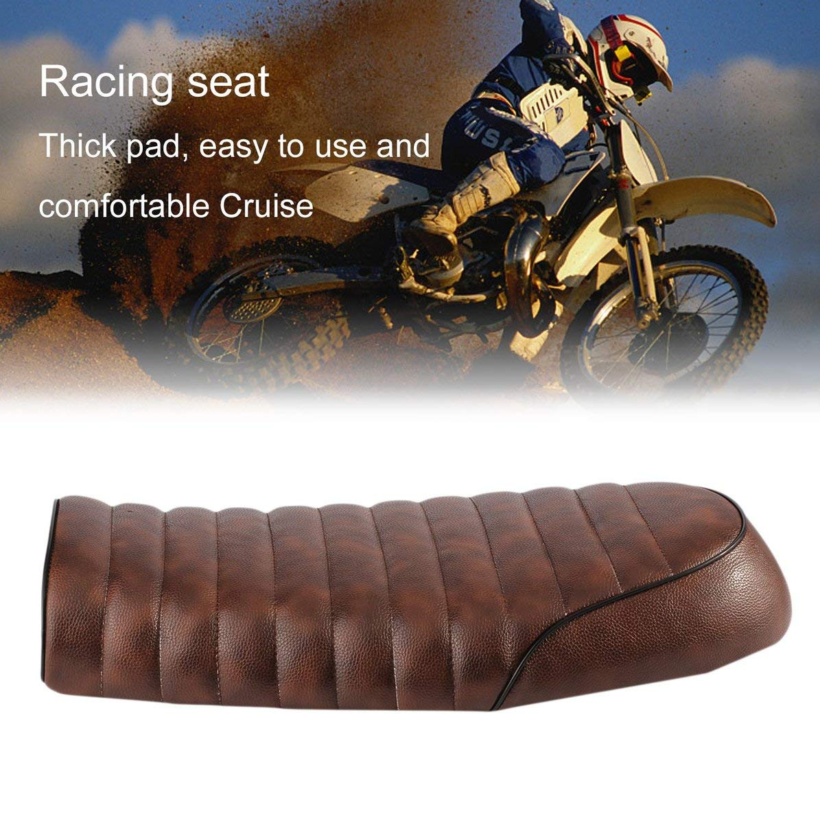 WEIWEITOE Universal Cafe Racer Seat Made of Waterproof Leather Padded with Sponge Universal for Honda CG Series Motorcycle,coffee,