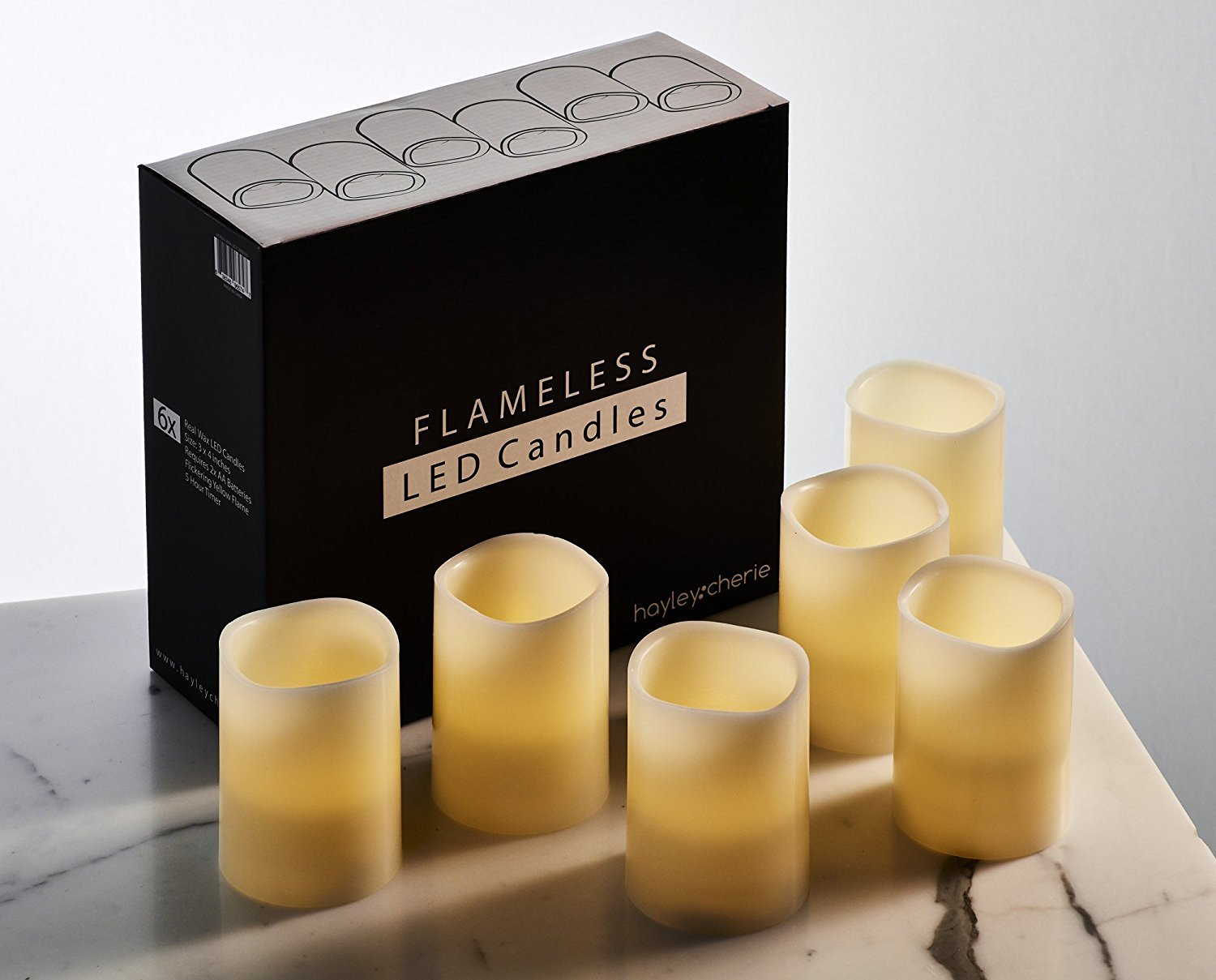 "Hayley Cherie - Real Wax Flameless Candles with Timer (Set of 6) - Ivory LED Candles 3"" wide x 4"" tall - Flickering Amber Flame - Battery Operated Pillar Candles - Large Unscented"
