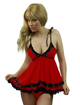 070710d3a03 Yummy Bee Plus Size Lingerie Babydoll Dress Lace Set G String 6-22 6-22   Amazon.co.uk  Clothing