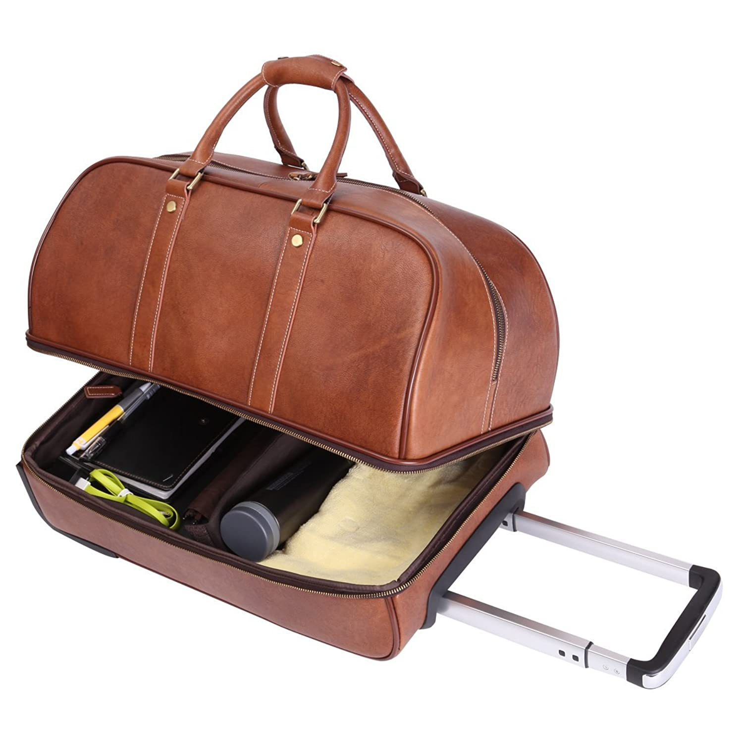 Amazon.com | Leathario Men's Leather Luggage Wheeled Duffle ...
