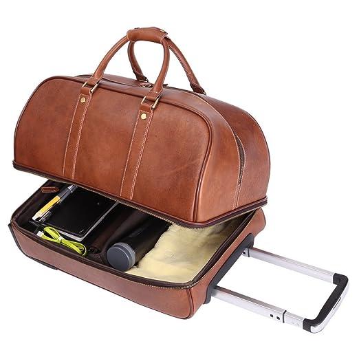 Leathario Men's Leather Luggage Wheeled Duffle, Leather Travel Bag