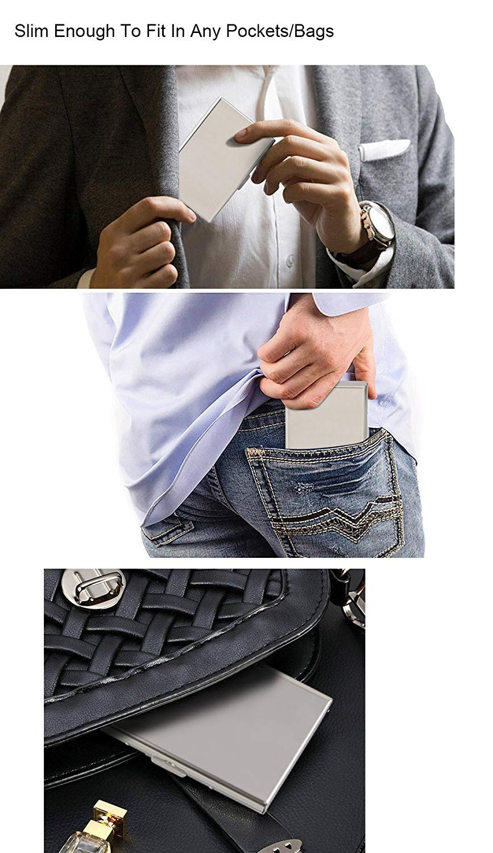 URAQT RFID Card Holder Protector Wallet RFID Blocking Identity Thieves Black + Silver Metal Credit Card Wallet