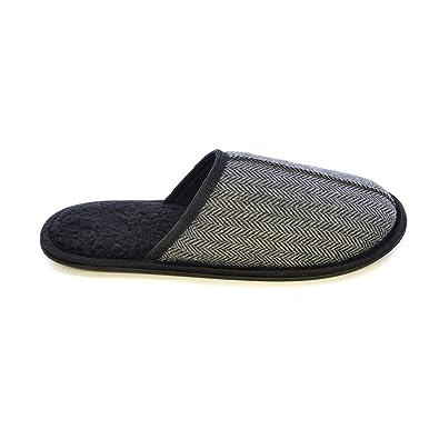 Elegante Mens Herringbone Tweed Mule Slippers prezzo basso