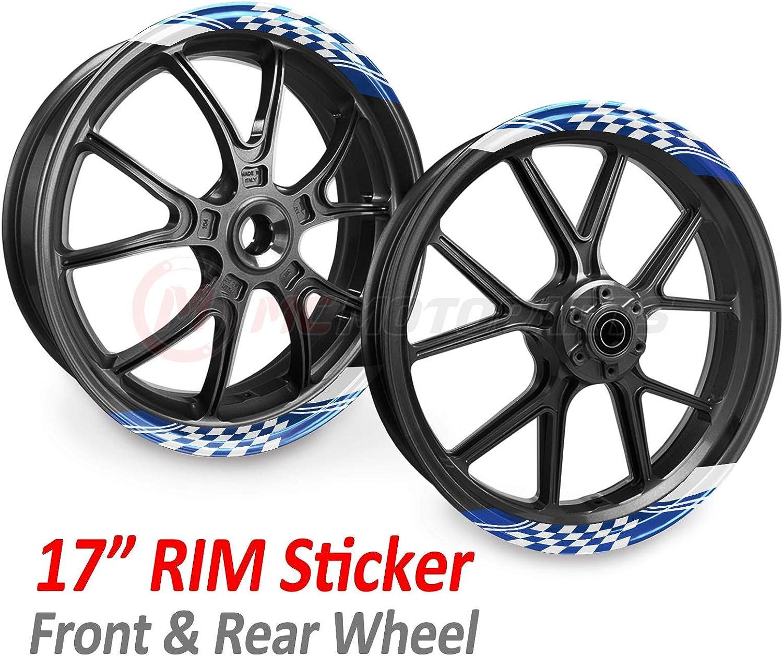 MC Motoparts Rim Stripes Wheel Decal Stickers 17 inch Rim Tape GP02 For VFR800F CB1300 CB300R CB1000R CB500F Aqua Blue