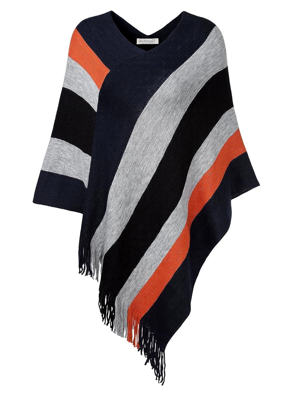 BAISHENGGT Women's V Neck Knitting Cape With Stripe Patterns Fringed Hem Top Poncho