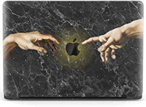 Mertak Hard Case Compatible with MacBook Pro 16 Air 13 inch Mac 15 Retina 12 11 2020 2019 2018 2017 Hands Black Marble Clear Touch Bar Michelangelo Plastic Protective Print Cover Creation of Adam