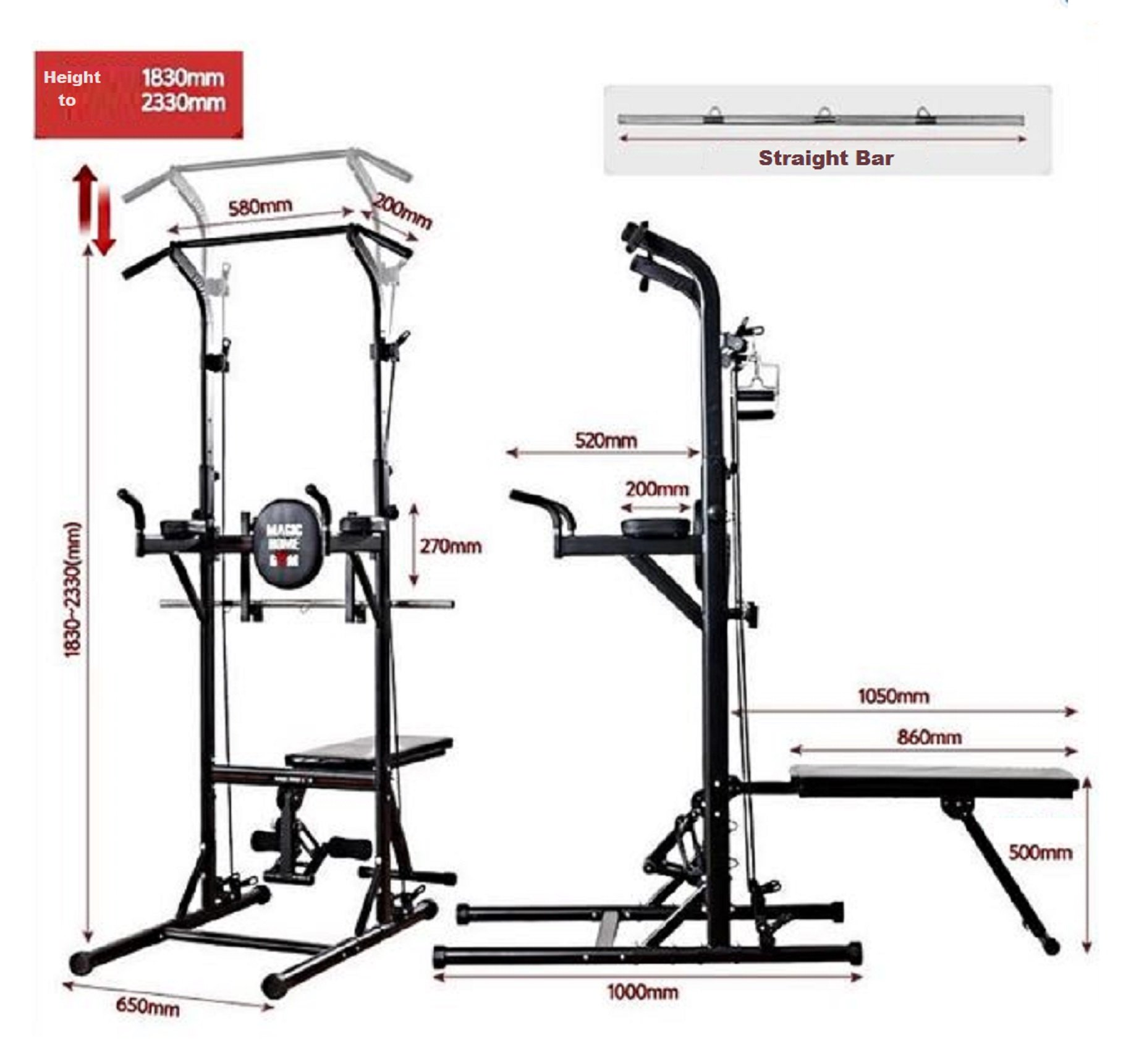All in one multifunctional VKR Pull Up power tower Chin Up Raise station bench set
