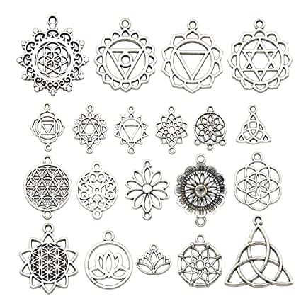 iloveDIYbeads 40pcs Craft Supplies Antique Silver The Seed of Life Lotus  Flower of Life Charms Pendants for Crafting, Jewelry Findings Making