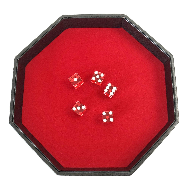 YH Poker 11.5インチオクタゴンダイストレイ – Heavy Duty Leatherette withレッドベルベットRollingサーフェス   B07CMPR4QR