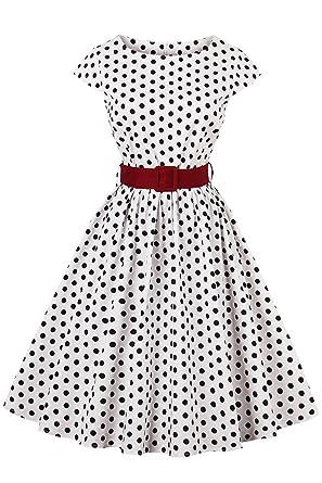 Damen Hepburn Audrey Kleid Axoe Vintage Jahre Cocktail Rockabilly Polka Partykleid Dot 50er lTFJ1cK