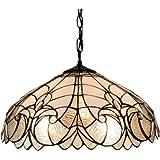 "Amora Lighting AM206HL18 White/Mahogany Floral Tiffany-style Hanging Lamp, 18"""