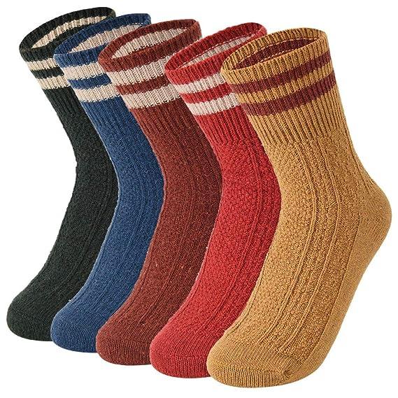 VBIGER 5 pares Calcetines de invierno Caliente Mujer Calcetines de punto Térmicos (color 2)