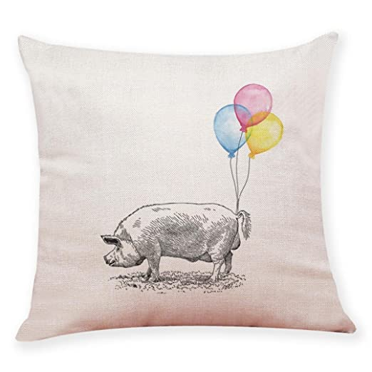 Fxbar Animal & Globo Series Lovely Pig Funda de cojín ...