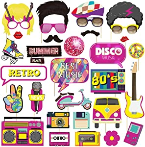 80s Party Photo Booth Props, 33Pcs with Wooden Sticks Photo Booth Props Funny, Rustic Bar Flashback Pose Sign Kit, Photo Booth Props for Birthday Adult Homecoming Wedding Party Kids Supplies