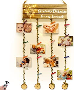 Grandmas Brag Board Grandma Gifts - Hanging Photo Display Picture Holders with Clips Remote Fairy Lights for Wall Decor, for Nana Grandma Birthday Gifts from Granddaughter Grandson