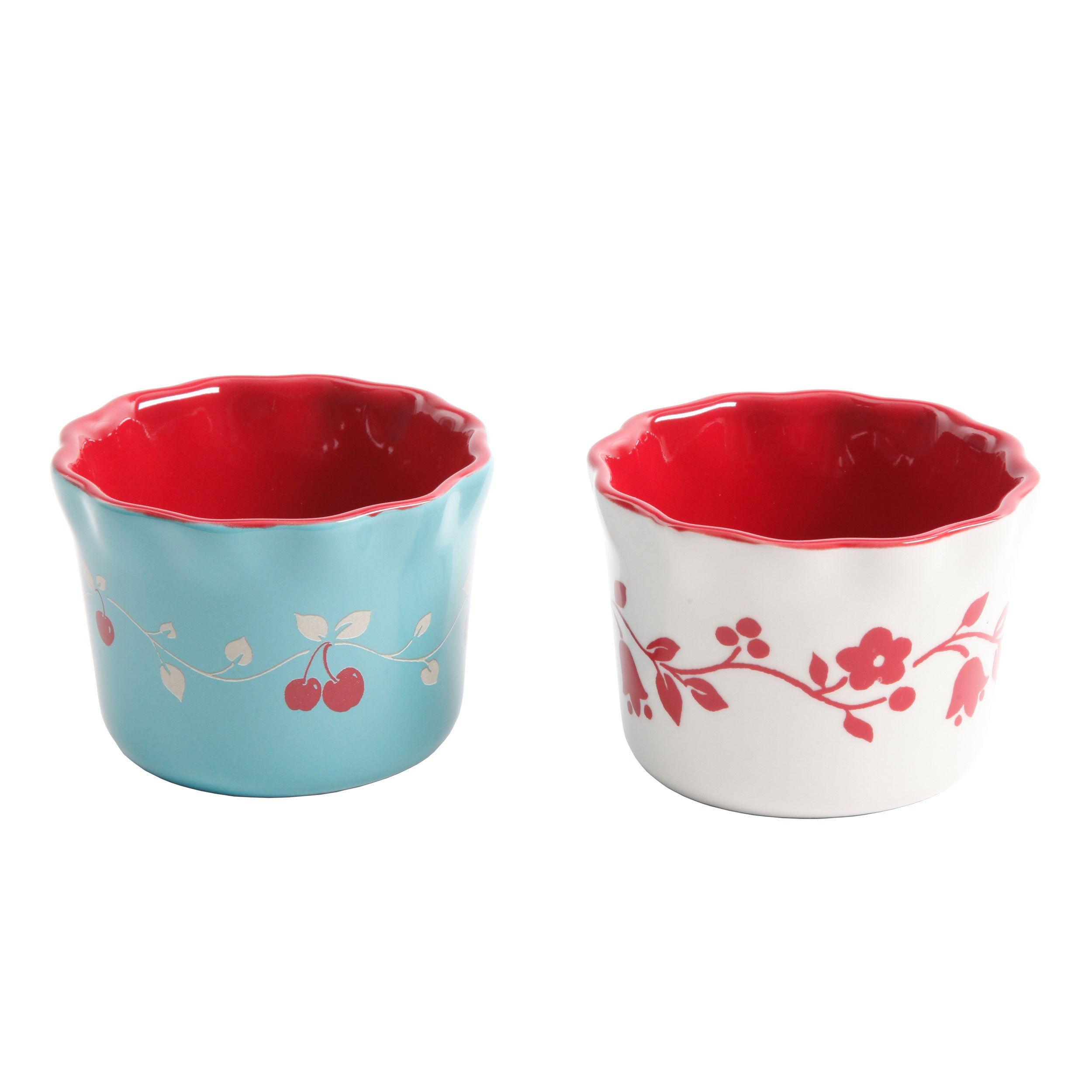 Gibson Home 102459.06RM General Store Cherry Diner 3.5 Inch Ramekins - 3 Assorted Designs 3.5'' Hand-Painted Stoneware6 Piece Set, Red