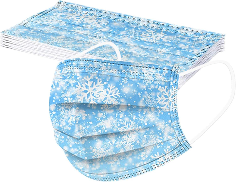 Snlaevx 10 Pezzi di Copertura per Il Viso USA e Getta a 3 Strati con Stampa Invernale a Fiocco di Neve per Adulti Tessuto Bocca Traspirante per Donne e Uomini