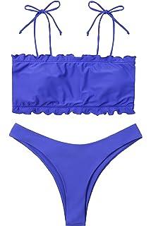 2016a531f50e0 Lemonfish Women s Off Shoulder Swimsuit Ruffled Floral Padded Bandeau  Bikini Thong 2 Piece Beachwear Bathing Suit