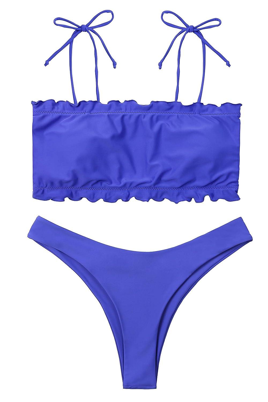 Purple Lemonfish Womens Off Shoulder Swimsuits 2 Pieces Floral Padded Beachwear Bikini Sets