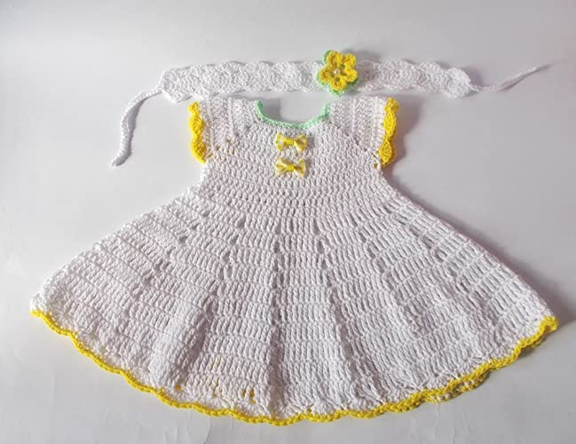 07fad2a1850d Amazon.com  White Crochet Baby Dress Newborn dresses white yellow ...
