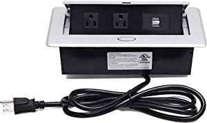 UL Approval Power Strip, Hidden Pop Up Outlet Table Connection Box, Desktop Socket with 2 Outlets & 2 USB Charging Ports for Conference Room Countertop (Silver)