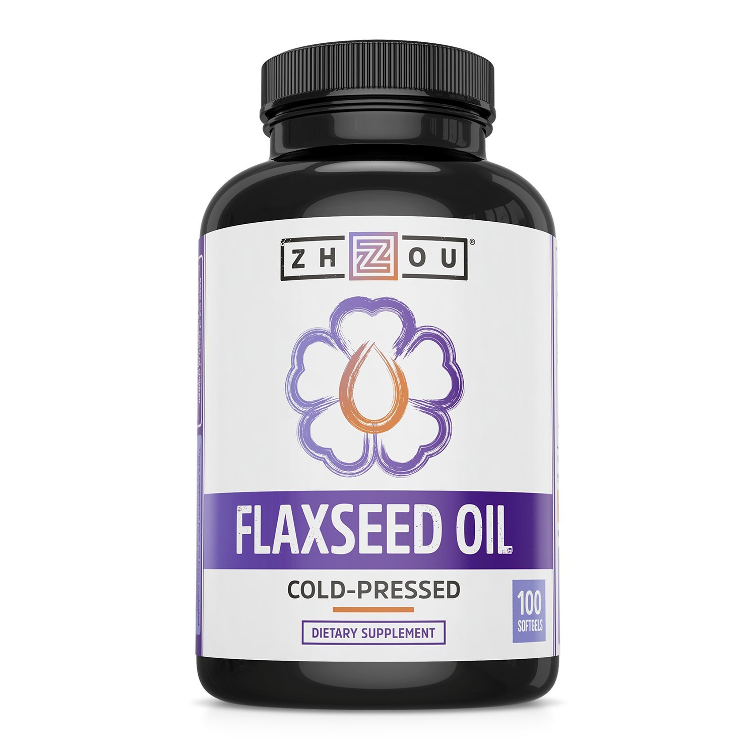 Flaxseed Oil Softgels to Support Heart Health and Healthy Hair, Skin & Nails - Cold-Pressed - Essential Omega 3 6 9 Fatty Acids - 1000 mg per Serving, 100 Count by Zhou Nutrition