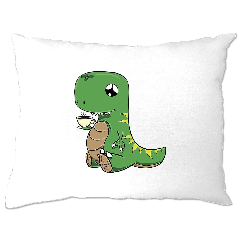 Cute Dinosaur Pillow Case Tea T-Rex Pun Joke White One Size A-PC-01514-WHT