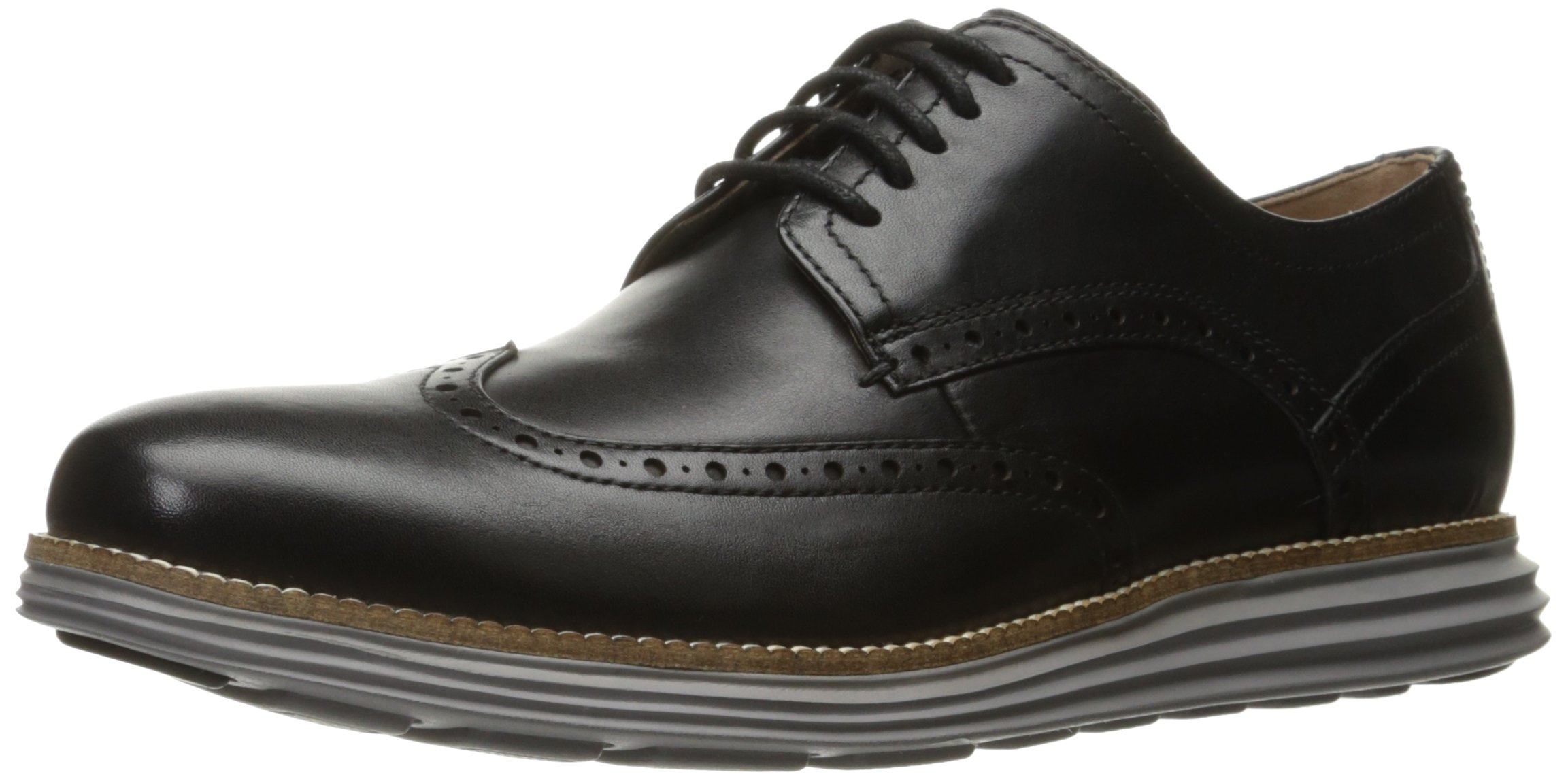 Cole Haan Men's Original Grand Shortwing Oxford Shoe, Black Leather/Ironstone, 10.5 Medium US