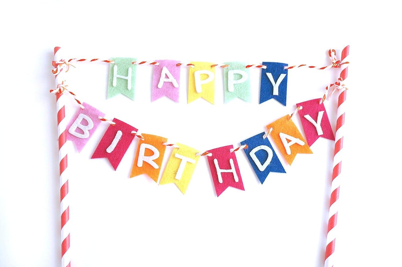 Admirable Amazon Com Rainbow Happy Birthday Flag Banner Cake Topper Cake Personalised Birthday Cards Paralily Jamesorg