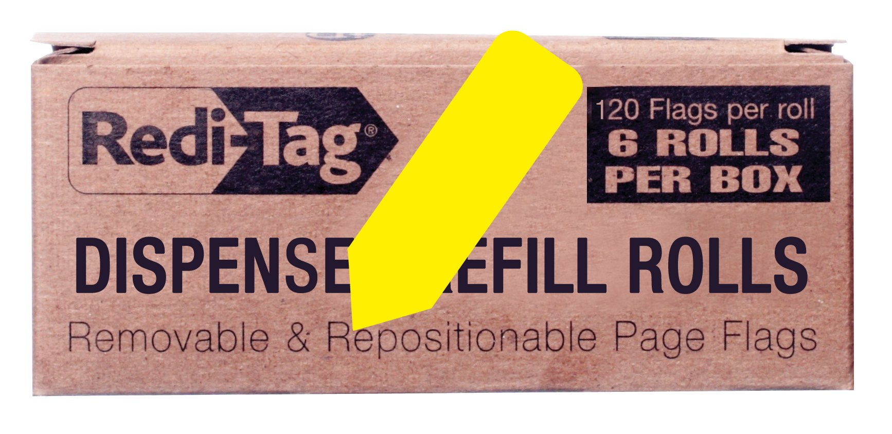 Redi-Tag Solid Arrow Dispenser Flags, 6 Roll Refill, 120 Flags per Roll, 1-7/8 x 9/16 Inches, Yellow (91061) by Redi-Tag