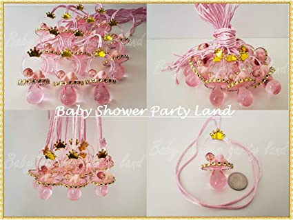 Princess Pacifier Necklace Baby Shower Game Favors 12 PINK GOLD Its a Girl Decor