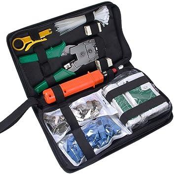 Antaprcis Comprobador de Cable de Red Network Tool Kits Red profesional Mantenimiento de la computadora LAN Cable Tester 9 en 1 Herramientas de Reparación: ...