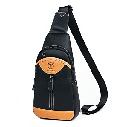 81f7a9eb0d86 BULL CAPTAIN Leather Chest Bag Colorful Patchwork Durable Fashion One Shoulder  Bag Crossbody Bag Backpack for