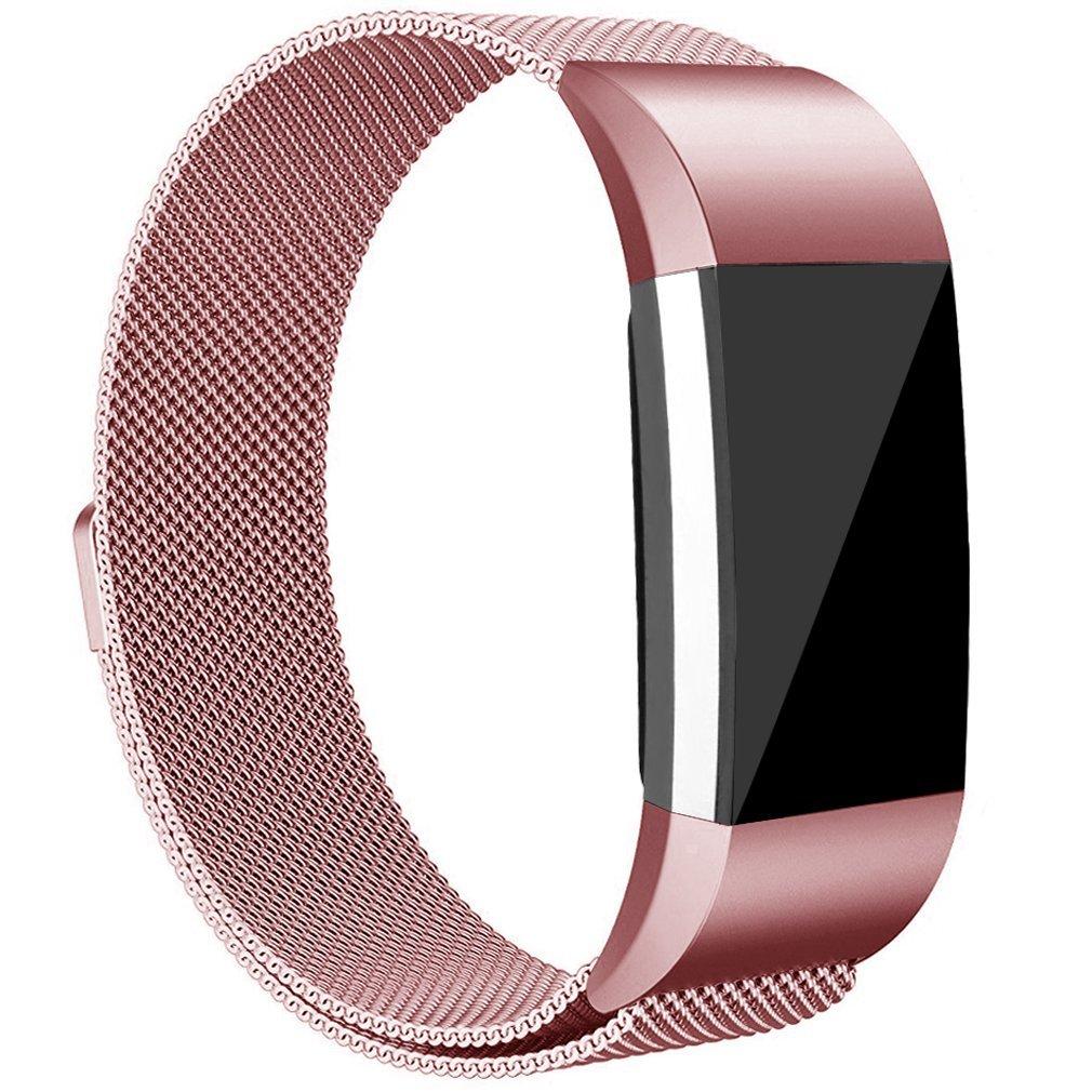 tobfit Fitbit Charge 2バンド(2サイズ、マグネット開閉式ミラネーゼループメッシュ滑らかなステンレススチールストラップ、メタルクラスプ交換リストバンドfor Fitbit Charge 2 B0792W9M93 ローズピンク Large