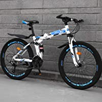 Modzye Mountain Bike Foldable 24 Inch Wheel Variable Speed Double Shock Absorption System Women Man Outdoor Sports City…