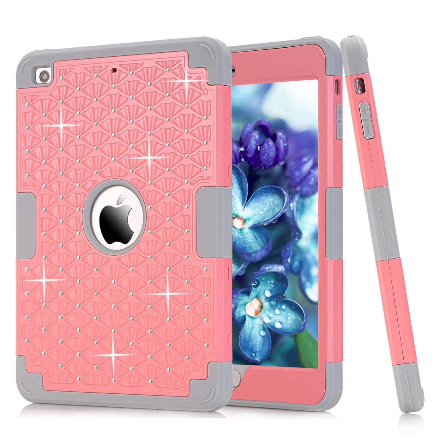 iPad mini 1/2/3 Case, Firefish [Bling Crystal Diamond] Hybrid Heavy Duty Shockproof Protective Cover Hard Back & Soft Silicone Bumper Dual Layer Case for Apple iPad Mini 1/2/3 -Pink+Gray