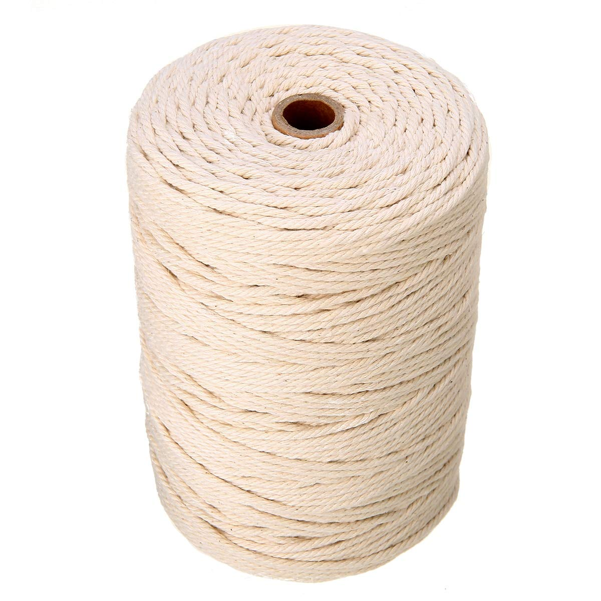 MONICO 1 Roll 3mm Beige Cotton Twist Cord 220m Length Rope Artisan Craft Macrame String for DIY Craftwork