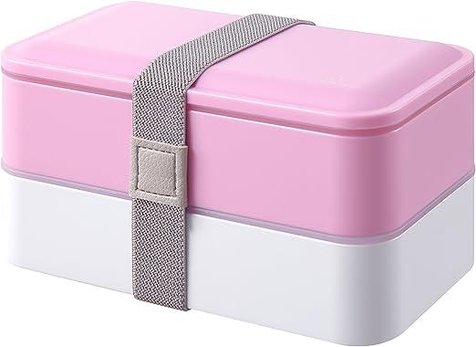 PuTwo, caja de almuerzo, bento recipientes con cubiertos, doble ...