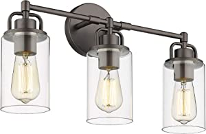 FEMILA 3-Light Bathroom Vanity Light, Farmhouse Vanity Wall Sconce Lamp with Clear Glass Shade, Oil Rubbed Bronze Finish, 4FH06-3W ORB