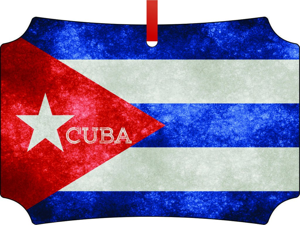 Cuban Grunge Flag-TM Double-Sided Berlin Aluminum Holiday Hanging Tree Ornament. Made in the USA!