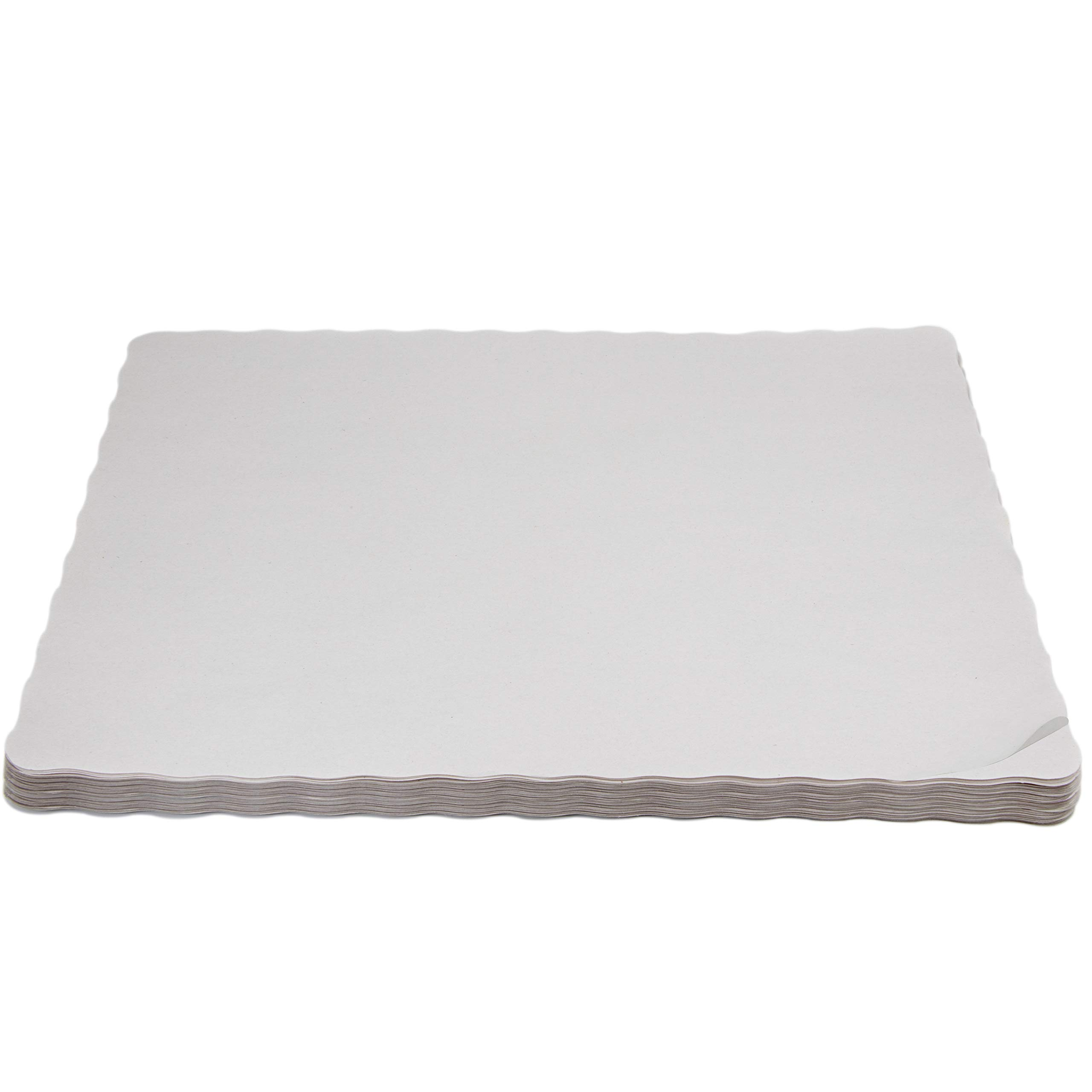 Upper Midland Products Disposable Paper Placemats -Blank White Rectangle 14 X 10 Inches with Wavy Edge
