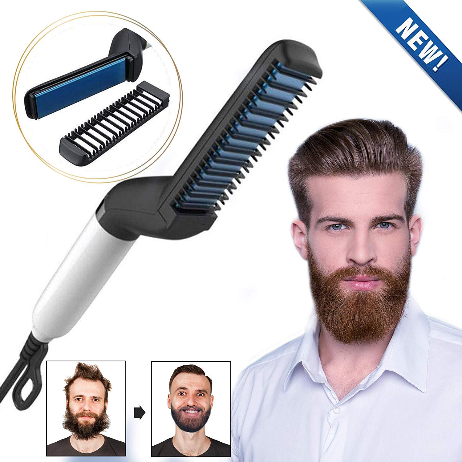 WORD GXElectric Beard Straightener for Men - Professional Quick Styling Comb for Frizz-Free Beard Hair - Ceramic Ionic Heating Control - Portable Brush with Anti-Scald Feature