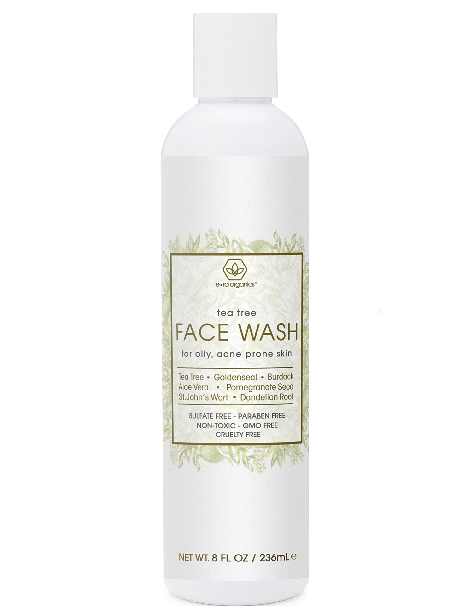 Tea Tree Oil Face Cleanser – Face & Body Wash for Dry, Oily, Acne Prone Skin & Rosacea 8oz Natural & Organic Facial Wash to Moisturize, Nourish, Soothe Redness & Inflammation