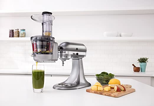 kitchenaid juicer attachment. amazon | kitchenaid ksm1ja masticating juicer and sauce attachment, silver by ホーム&キッチン 通販 kitchenaid attachment m