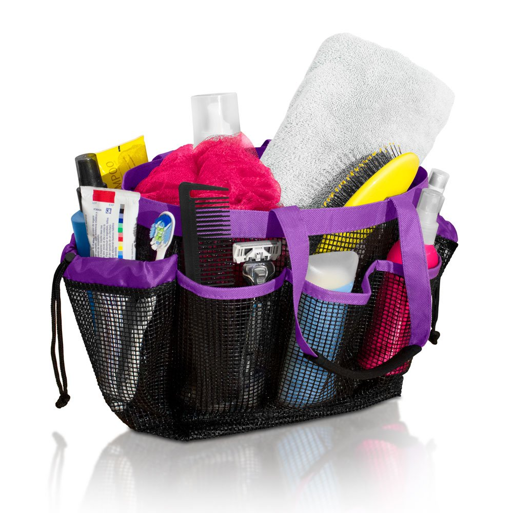 Simply Things Mesh Shower Caddy and Bath Bag Organizer Tote with 9 Storage Compartments and Two Reinforced Handles, This Mesh Shower Bag is Quick Drying for Dorm, Gym, Camping, or Travel - (Purple)