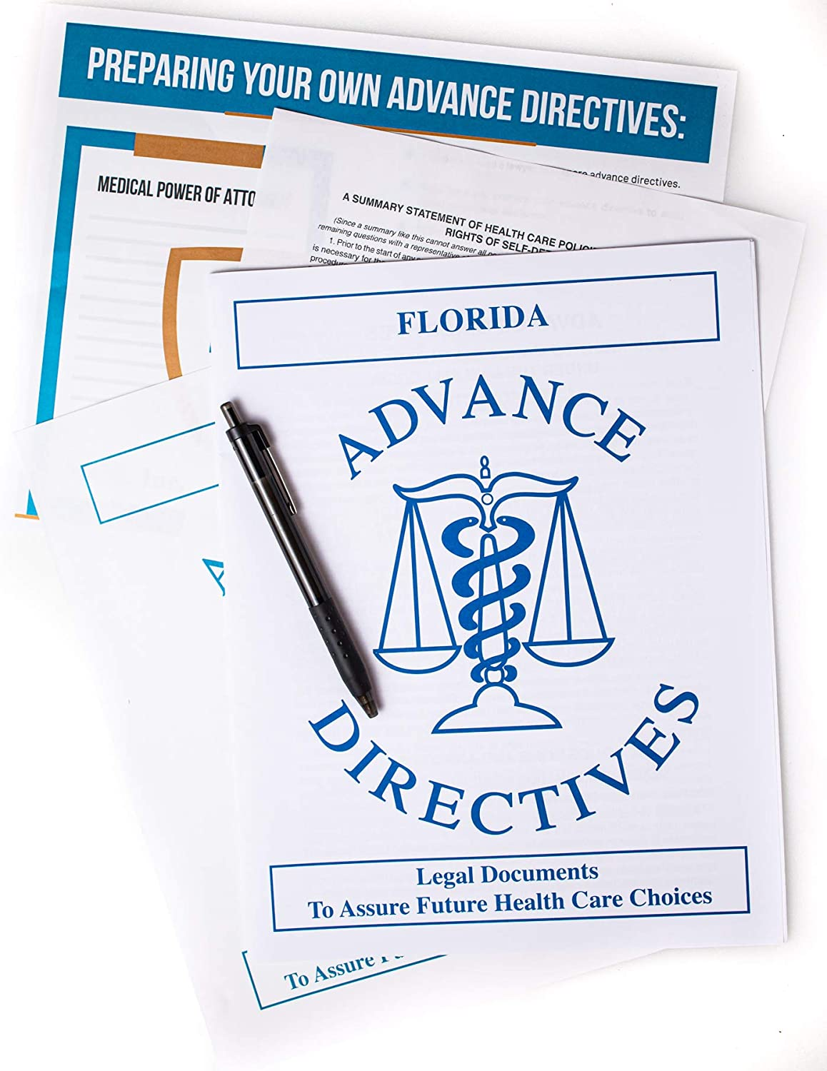 Kit Includes Two Florida (or TX, CA, NY) Living Wills, Advance Directives to Physicians and Florida Medical Power of Attorney Legal Forms, Bonus Infographic and Papermate Pen