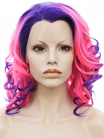 Imstyle corto curl peluca rosa a morado Ombre encaje sintético peluca resistente al calor peluca Front