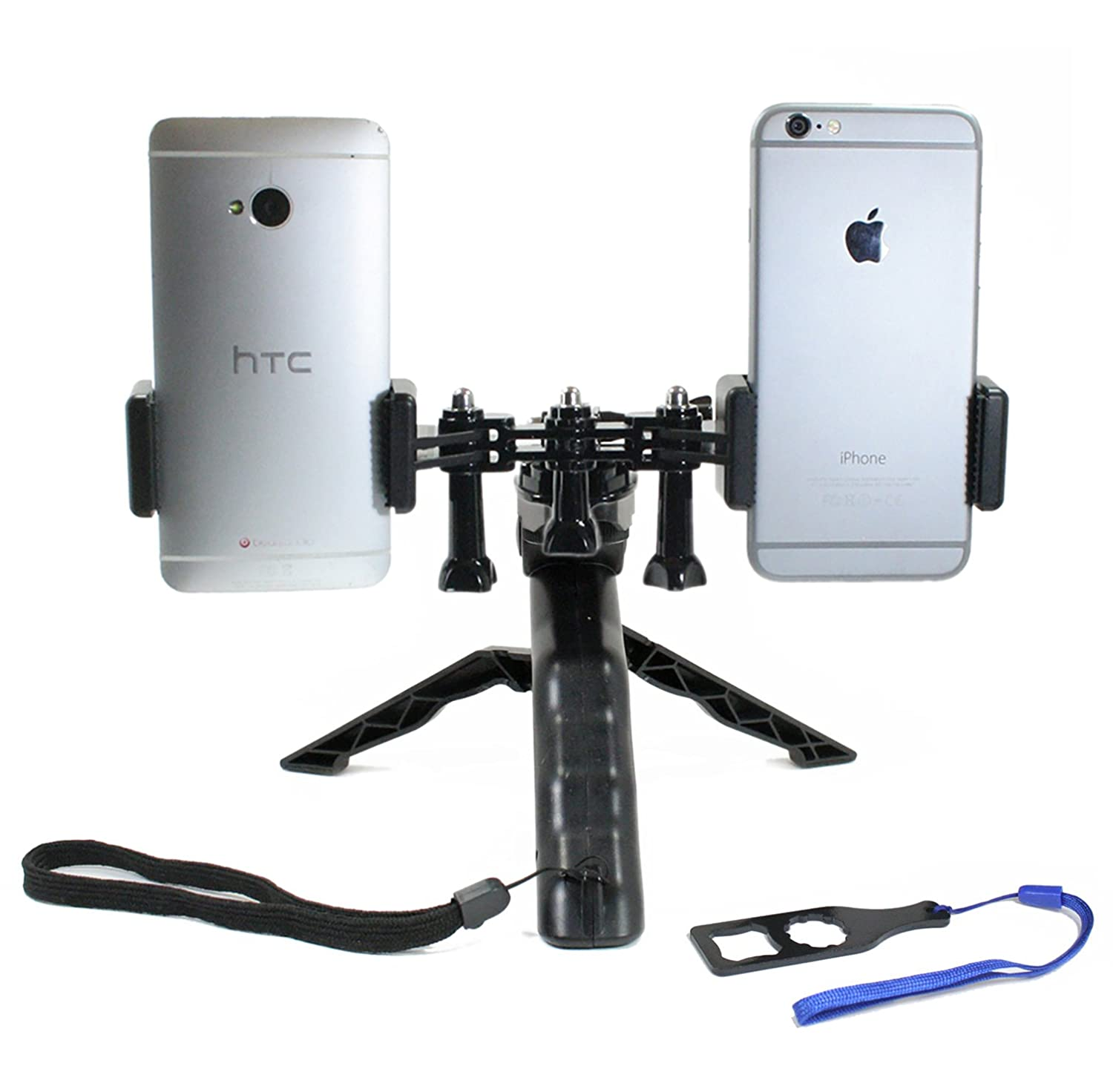 Livestream Gear - Dual Device Tripod Setup for Streaming or Video Recording with 2 Phones. Also Works with GoPro. Any Device, Multiple Orientations. (2 Device Tripod)